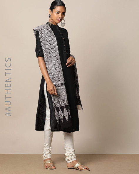 Handblock Print Bagh Cotton Dupatta By Indie Picks ( Black ) - 460165095001
