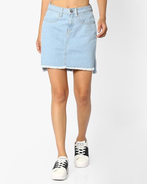 Denim Skirt With Step Hem By AJIO ( Lightblue )