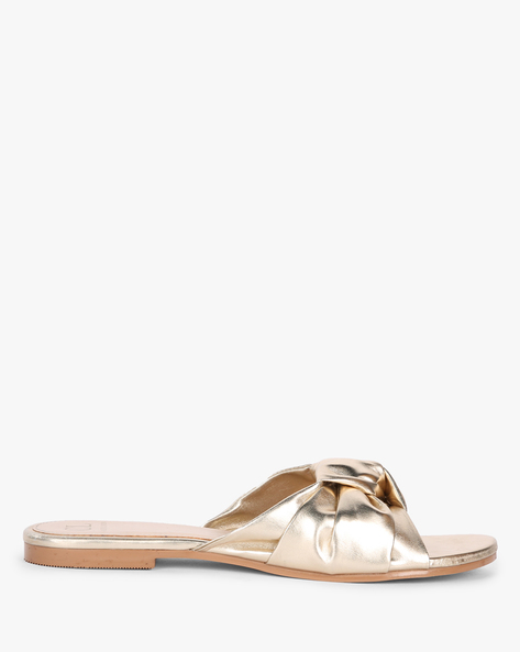 Flat Sandals With Knotted Upper By Carlton London ( Gold )