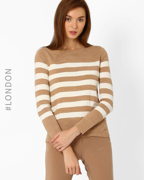 Striped Pullover With Vented Hem By Marks & Spencer ( Brown )