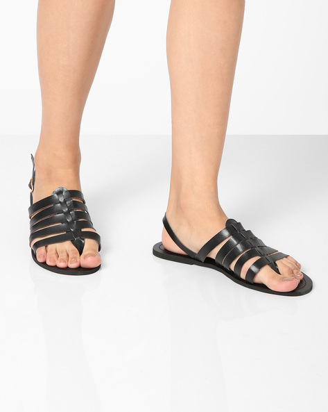 Strappy Flats With Buckle Closure By AJIO ( Black )