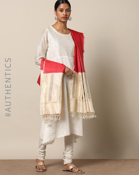 Handloom Pure Silk Tussar Muga Dupatta By Indie Picks ( Red )