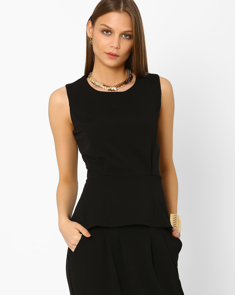 Peplum Top By AJIO ( Charcoal )
