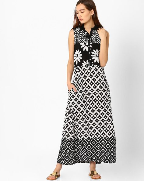 Printed Sleeveless Dress By Biba ( Black )