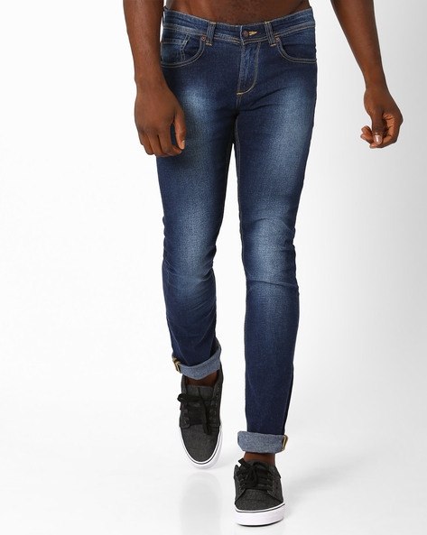 Lightly Washed Skinny Fit Jeans By SPYKAR ( Dkblue ) - 460032240002