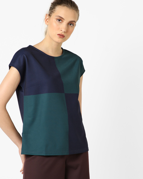 Colourblock Top With Cap Sleeves By UNITED COLORS OF BENETTON ( Green )