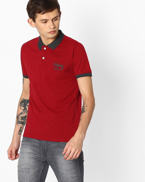 Polo T-shirt With Embroidered Branding By FLYING MACHINE ( Assorted )