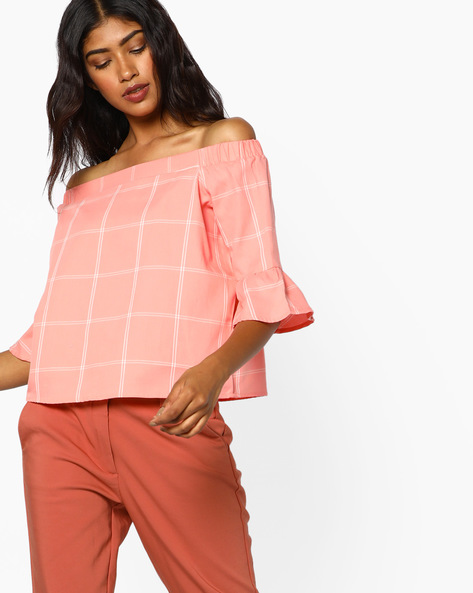 Checked Off-Shoulder Top By AJIO ( Pink )