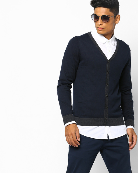 Slim Fit Button-Down Cardigan By GAS ( 0194 )