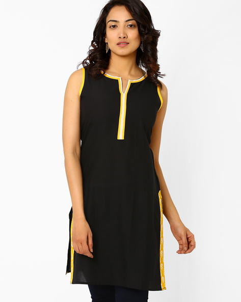 Sleeveless Kurta By AJIO ( Black )