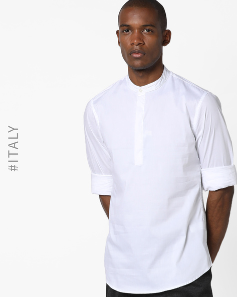 Shirt With Band Collar By ALCOTT ( White )