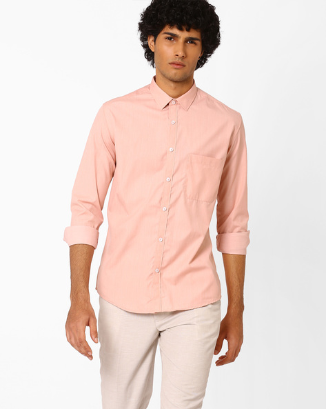 Slim Fit Shirt With Patch Pocket By British Club ( Orange ) - 460057332001