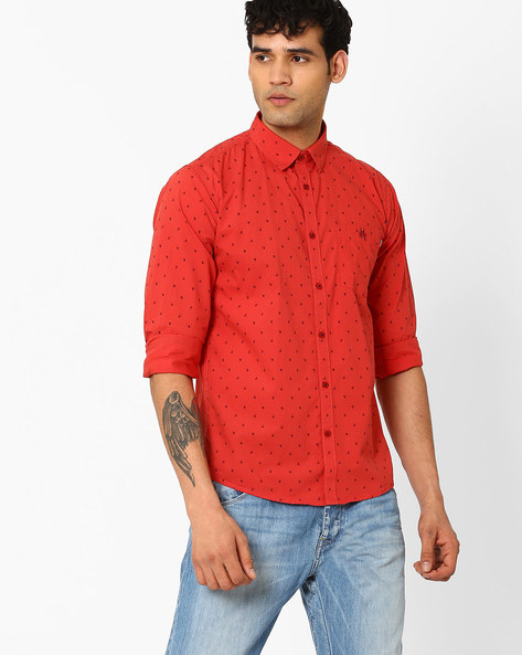 Printed Slim Fit Shirt With Patch Pocket By CRIMSOUNE CLUB ( Rust )