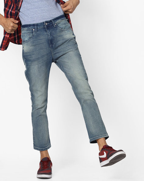 Mid-Washed Cropped Jeans With Whiskers By Blue Saint ( Lightblue )