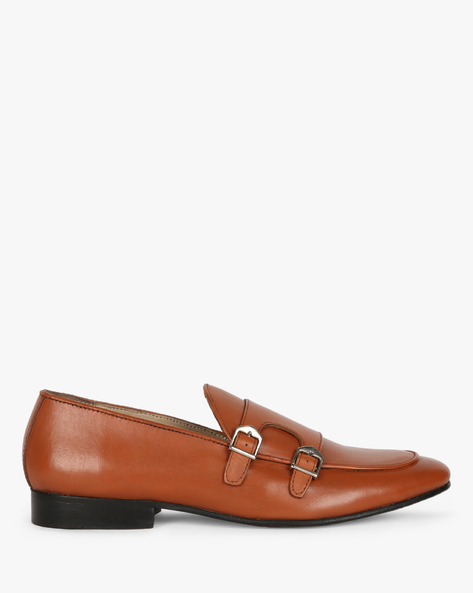 Genuine Leather Apron-Toe Monk Shoes By Modello Domani ( Tan )