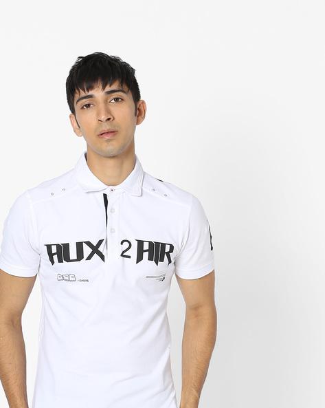Typographic Print Polo T-shirt By Celio ( White )