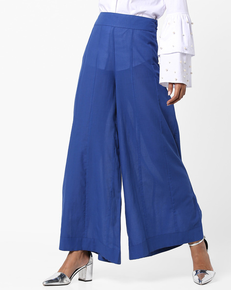 Wide-Leg Panelled Palazzo Pants By AJIO ( Blue )