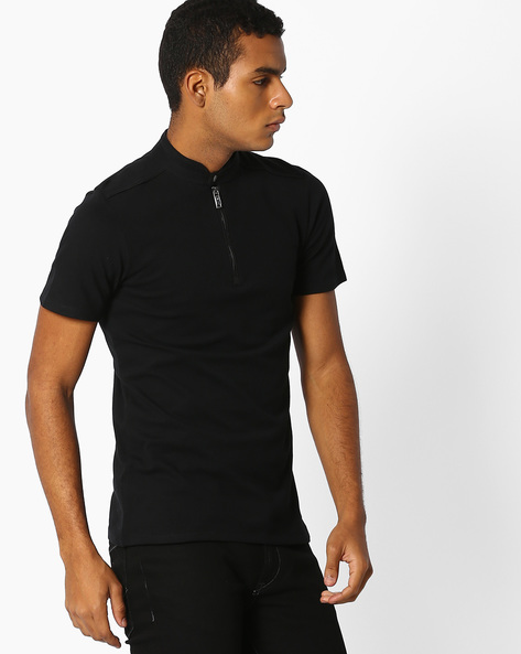 Panelled T-shirt With Band Collar By Celio ( Black )
