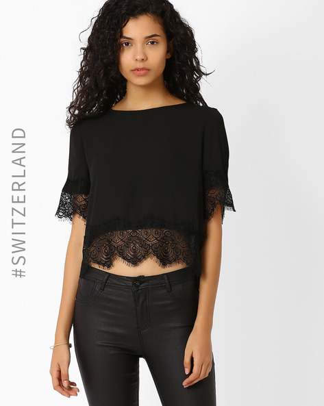 Crop Top With Eyelash Lace Trim By TALLY WEiJL ( Black )