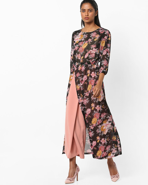 Floral Print Tunic With Front Slit By AJIO ( Black )