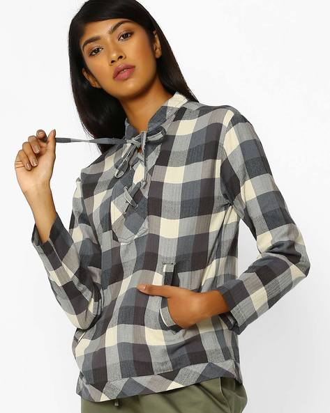 Checked Top With Lace-Up Neckline By Oxolloxo ( Multi )