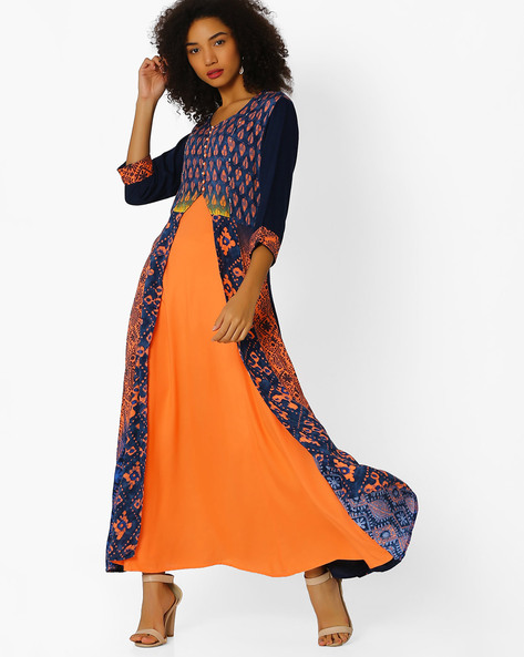 Block Print Layered Kurta By Shree ( Orange )