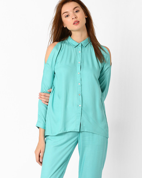 Shirt With Cold-Shoulder Sleeves By AJIO ( Blue )