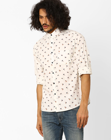Origami Bird Print Shirt By Pepe Jeans ( Offwhite )