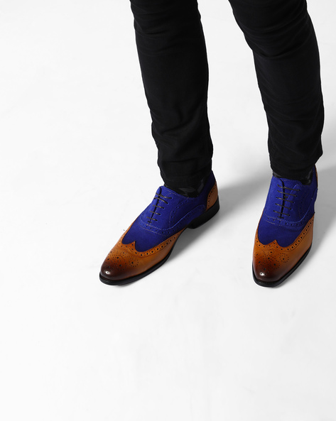 Handcrafted Leather & Suede Oxford Brogues By Modello Domani ( Tan )