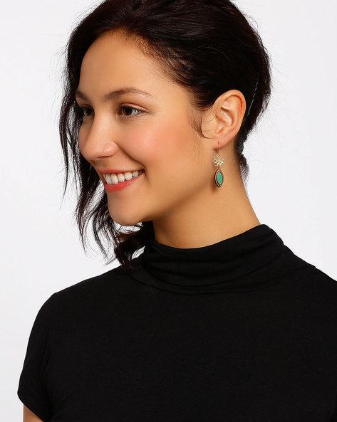 Gold-Plated Dangler Earrings By Shabnam Gitanjali ( Green )