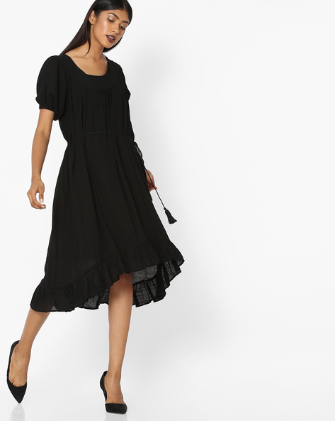 Fit & Flare Dress With High-low Hem By Tokyo Talkies ( Black )