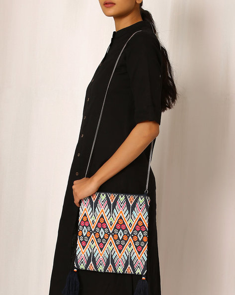 Printed Cotton Sling Bag By Indie Picks ( Multi )