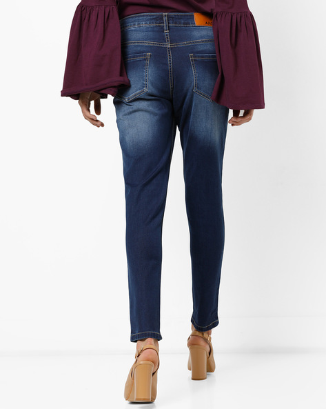 Lightly Distressed Slim Fit Jeans By AJIO ( Indigo )