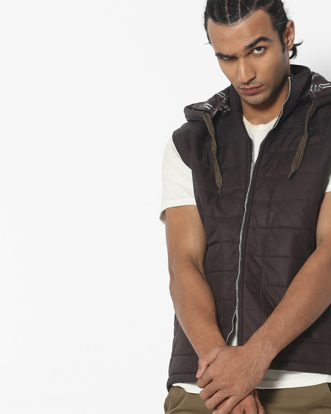 Sleeveless Quilted Jacket With Hood By Fort Collins ( Burgundy )