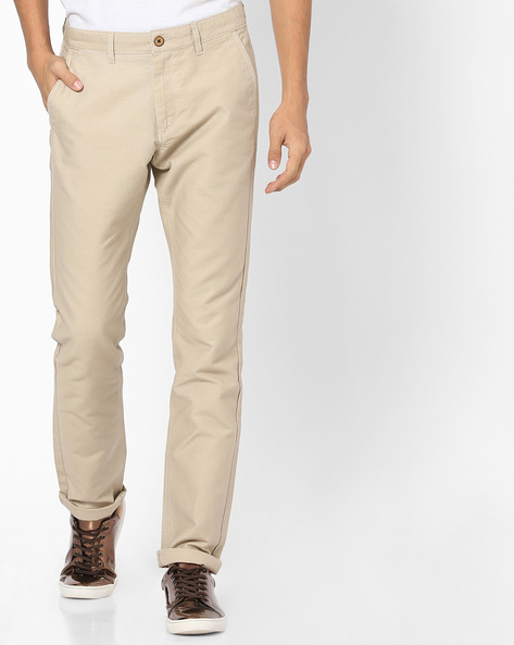 Flat-Front Tapered Chinos By NETPLAY ( Stone ) - 440807575011