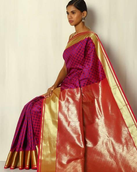 Brocade Pallu Contrast Weave Buti South Silk Saree By BANASURI ( Purple )