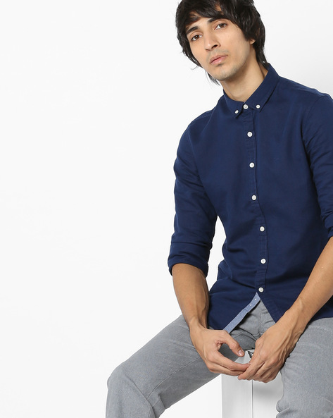 Sim Fit Shirt With Button-Down Collar By FLYING MACHINE ( Brown )