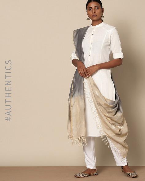 Handloom Pure Tussar Silk Muga Jamdani Dupatta By Indie Picks ( Red ) - 460135870001