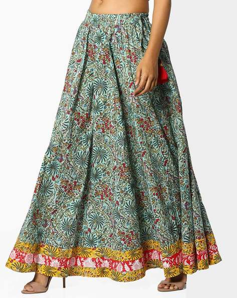 Printed Maxi Skirt With Contrast Border By Omya ( Green )
