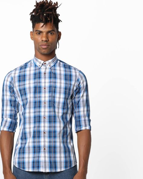 Checked Shirt With Button-Down Collar By AJIO ( Blue ) - 460120286001