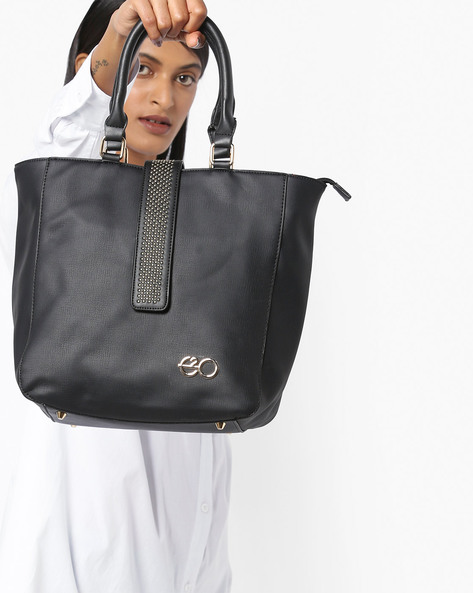Tote Bag With Studded Tab By E2O ( Black )