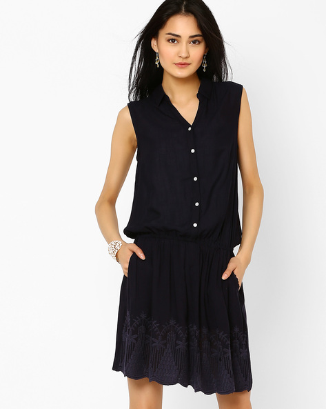 Embroidered Blouson Dress By AJIO ( Blue )