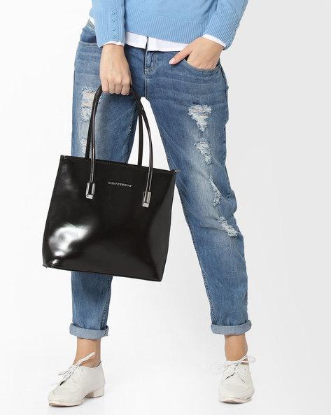 Glossy Tote Bag By Lino Perros ( Black )