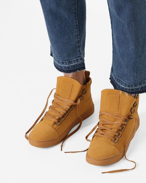 Panelled Mid-Top Lace-Up Sneakers By AJIO ( Brown )