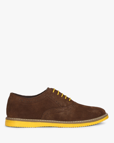 Genuine Leather N9-Treated Lace-Up Shoes With Broguing By AJIO ( Brown )