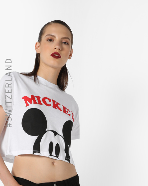 Mickey Mouse Print Crew-Neck Crop T-shirt By TALLY WEiJL ( White )