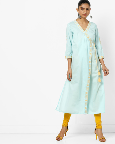 Angrakha Kurta With Floral Embroidery By AJIO ( Blue )