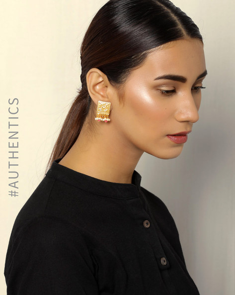 Floral Gold-Plated Brass Studs By Courtyard ( Gold )
