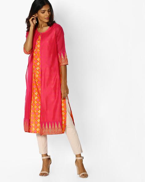 Chanderi Cotton Layered Straight Kurt By AVAASA MIX N' MATCH ( Pink )