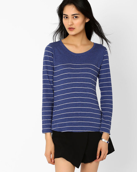 Striped T-shirt With Full Sleeves By TEAM SPIRIT ( Blue )